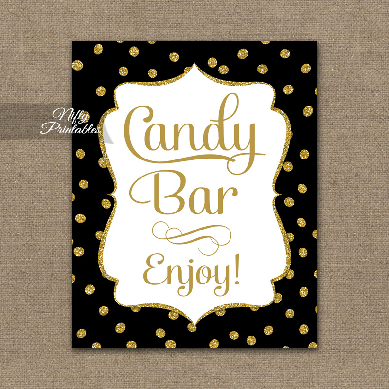Candy Buffet Sign - Black Gold Dots - Nifty Printables