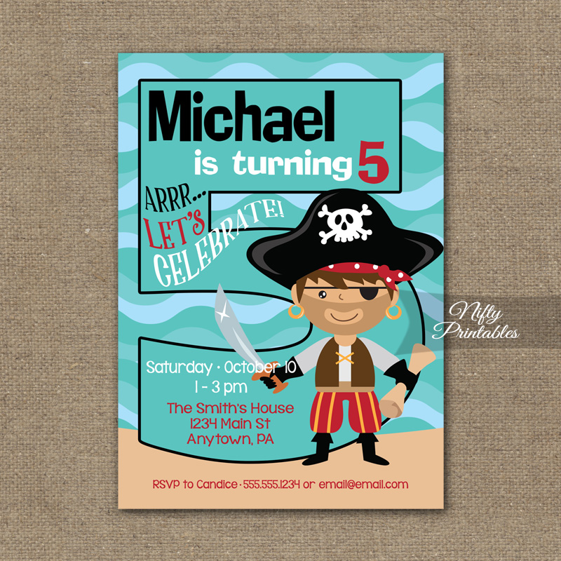 5th Birthday Invitation Pirate Birthday Invitations