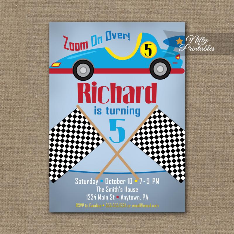 Race Car Birthday Invitation - Racecar Invitations - Nifty Printables