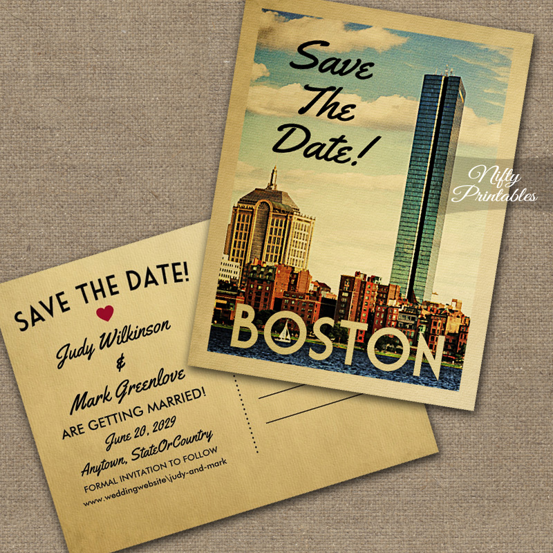 Boston Save The Date Printed Nifty Printables