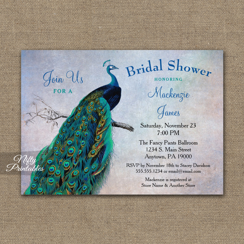 Peacock Bridal Shower Invitation Blue Turquoise PRINTED - Nifty