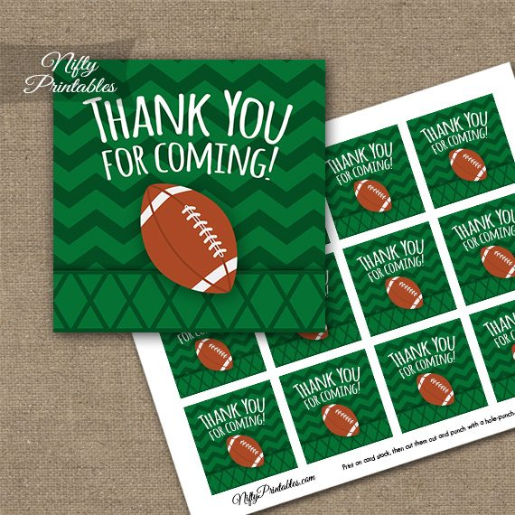 Football Thank You Favor Tags - Nifty Printables