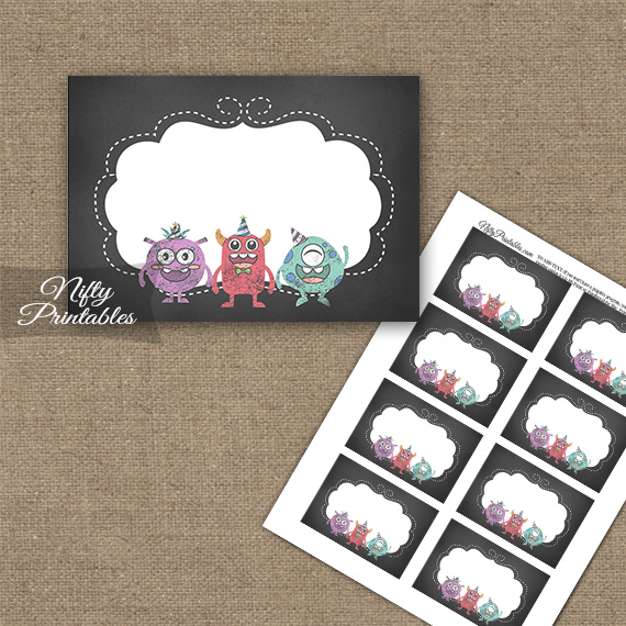 Monsters Chalkboard Birthday Blank Labels - Nifty Printables