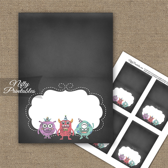 Monsters Chalkboard Birthday Folded Tent Place Cards - Nifty Printables