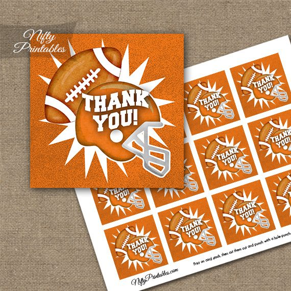 Orange Football Thank You Favor Tags - Nifty Printables