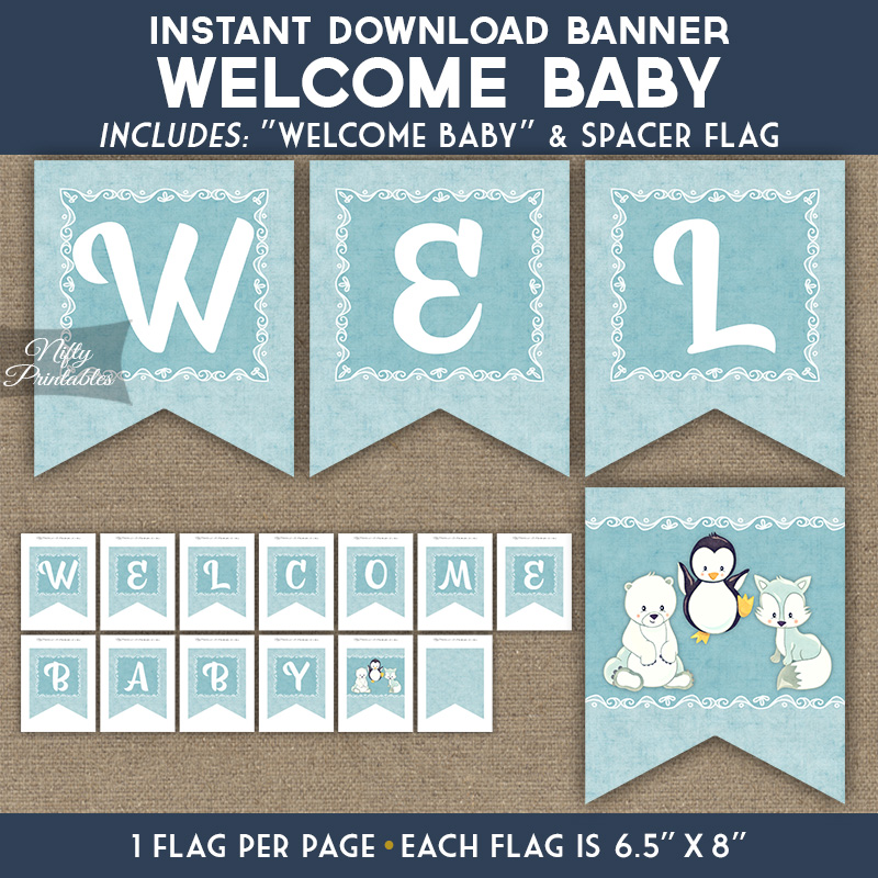 Baby Shower Banner - Cute Winter Animals - Nifty Printables