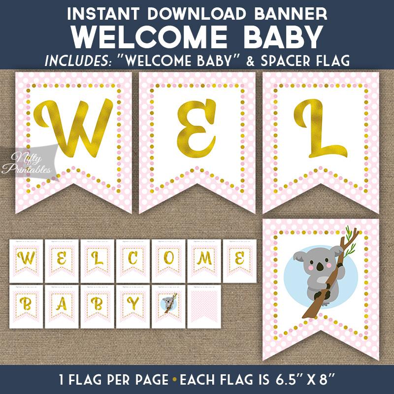 Baby Shower Banner - Koala Pink Gold - Nifty Printables