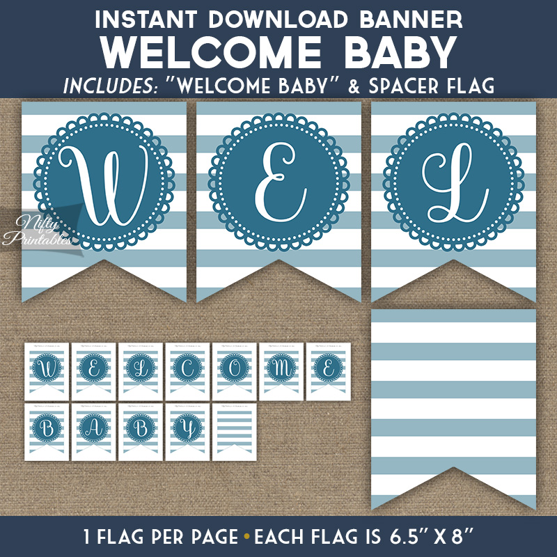 Baby Shower Banner - Loop Stripe Blue - Nifty Printables