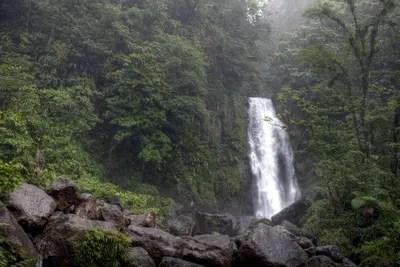 Trafalgar Falls, Dominica. Schöne Wasserfälle im Herzen der Karibik-Insel Dominica.