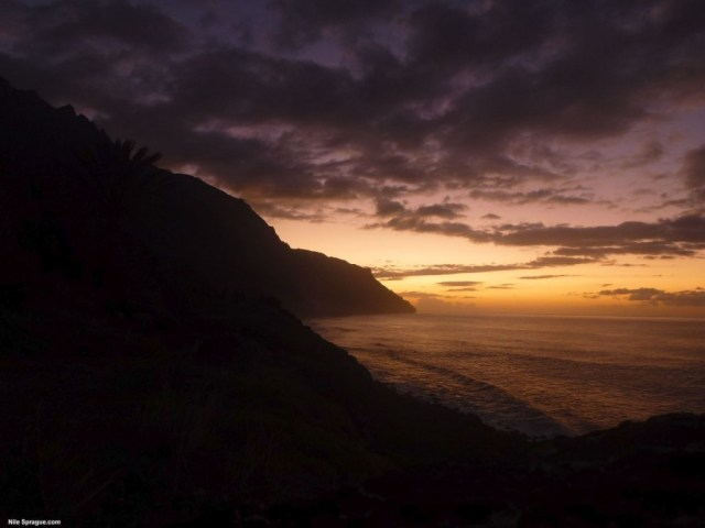 Kalalau Sunset, Napali Coast, Kauai, USA.