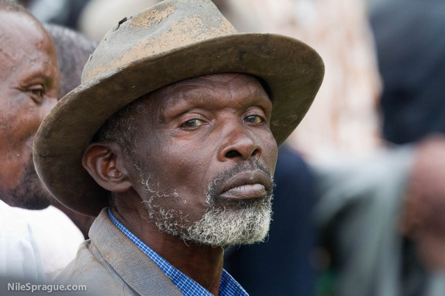 Elderly man with well worn hat, Koakagi coffee farmers' cooperative, Mamba sector, South Province, Rwanda.