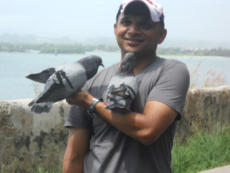 Nimesh with Pigeons