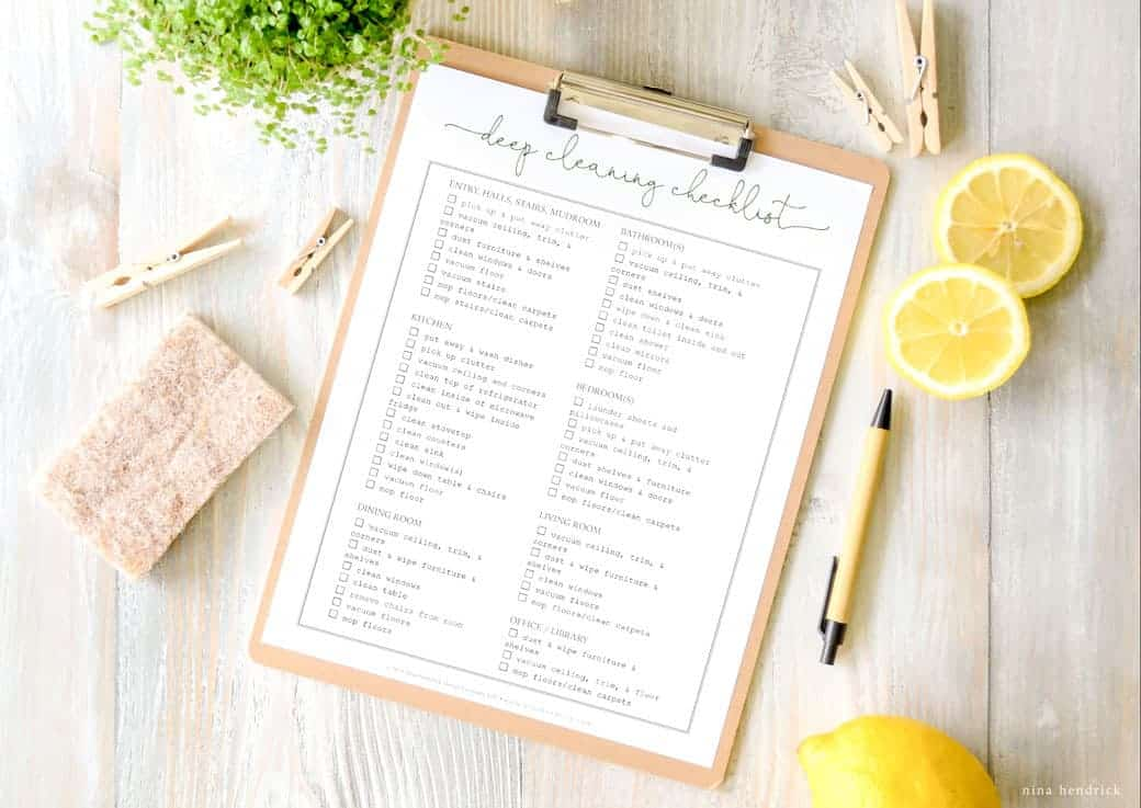 Cleaning Checklist Free Printable A Quick Guide for Deep Cleaning