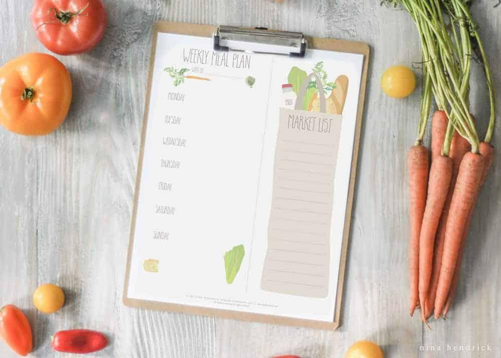 Free Printable Weekly Menu and Shopping List