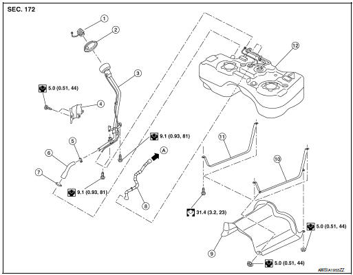 Nissan Rogue Service Manual Fuel tank - Removal and installation