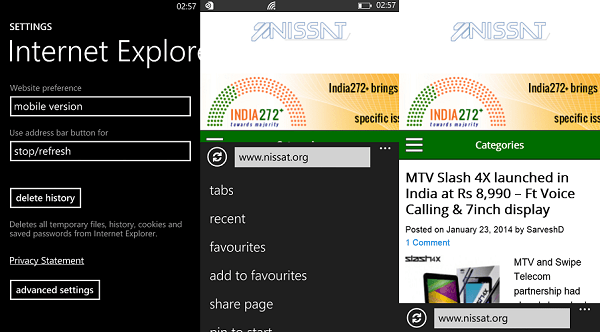 Nokia Lumia 525 Web Browsing