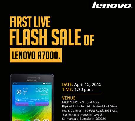 You can Buy Lenovo A7000 at Flipkart's Bangalore office tomorrow; 'Live Flash Sale'