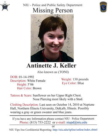 NIU community can help find Toni Keller through distributing fliers - missing person posters