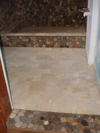 Tumbled marble and river stone bathroom floor and shower ...