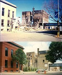 200px gf1997firebeforeafter Fargo may look to Grand Forks and Canada for relief photo