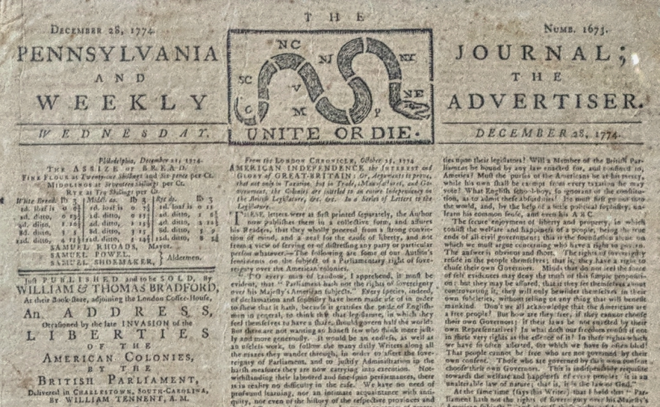 1774 Philadelphia Newspaper Turns up at South Jersey Goodwill