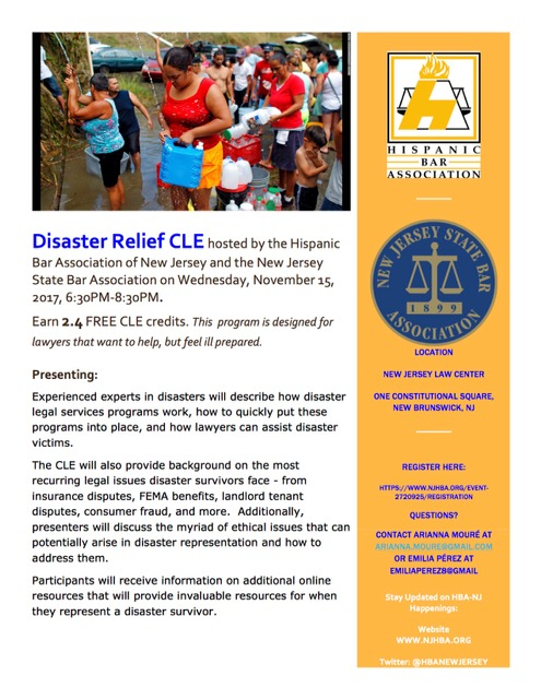 Disaster Relief CLE  New Jersey Women Lawyers Association - Disaster Relief Flyer