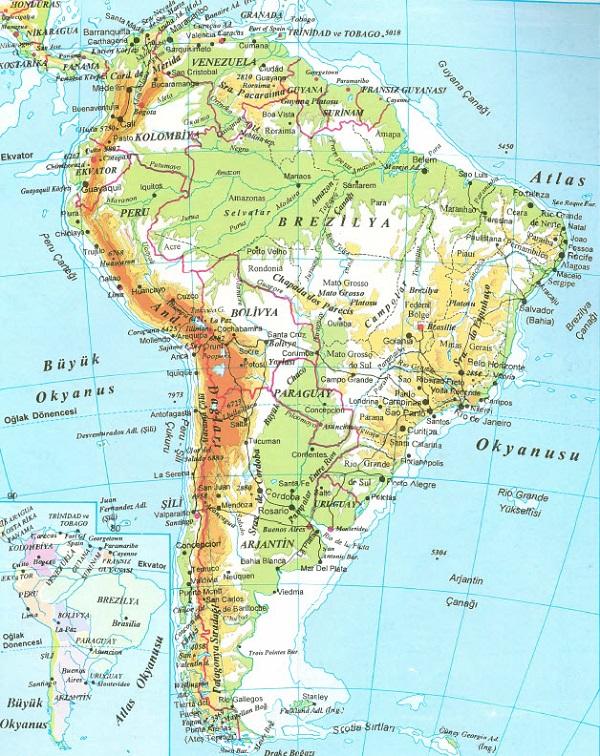 Güney Amerika Kıtası Ülkeleri ve Güney Amerika Kıtası Haritaları - amerika haritasi