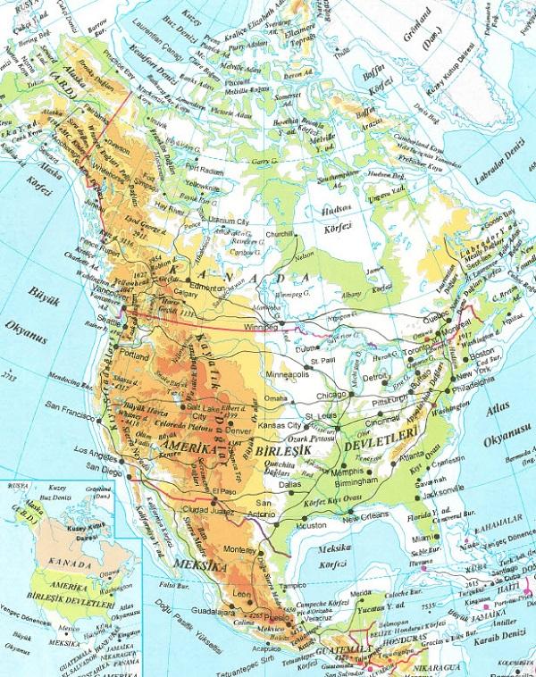 Kuzey Amerika Kıtası Ülkeleri ve Kuzey Amerika Kıtası Haritaları