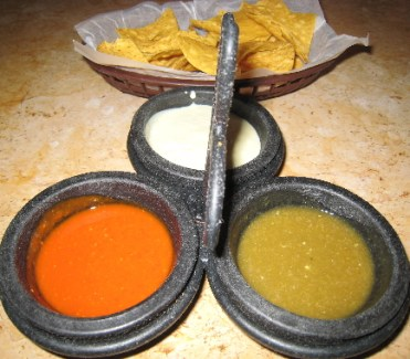 Three salsas are brought to your table before you even order.
