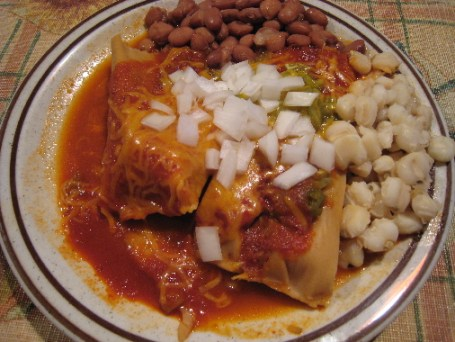 Perea's tamales with beans and posole