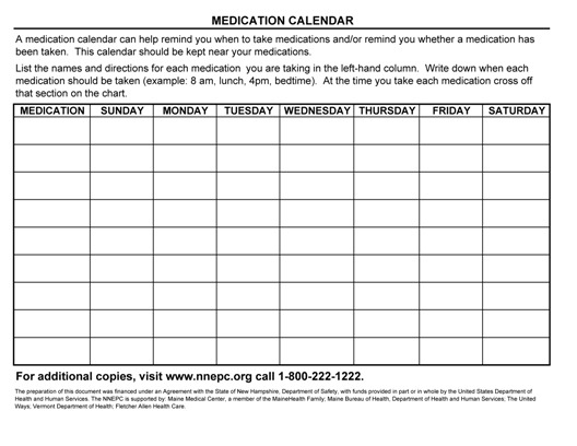 Medication Calendar Northern New England Poison Center
