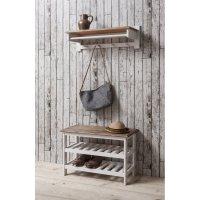 Shoe Storage Unit with Coat Rack in White & Dark Pine ...