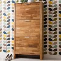 Slimline Oak Shoe Cabinet
