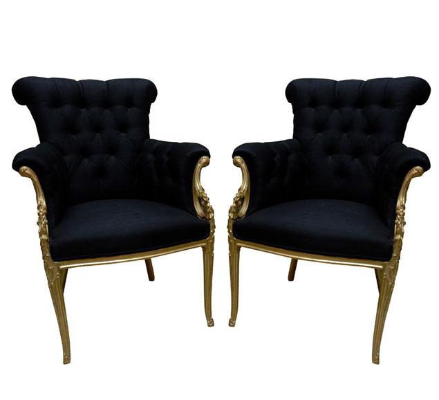 Paul Iribe Gilt Wood and Midnight Blue Armchairs
