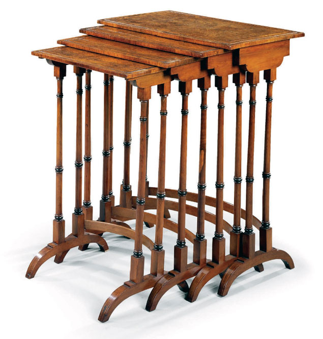 Regency Quartetto Tables in Burl Yew