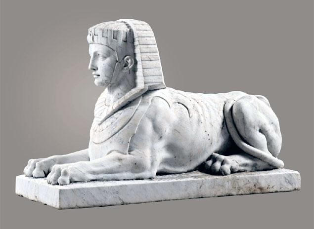 Italian White Marble Sphinx