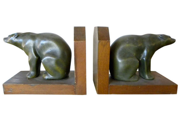 Polar Bear Art Deco Bookends