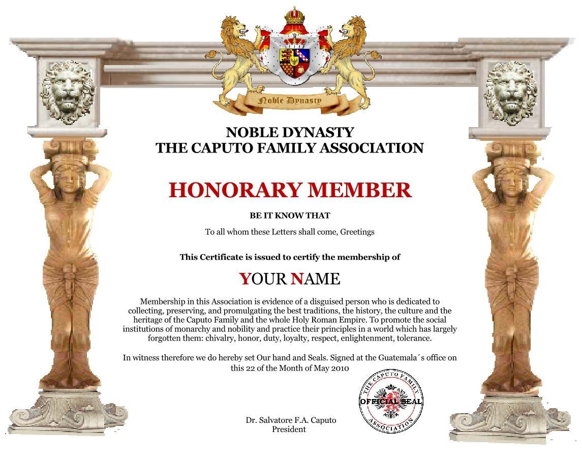 honorary member certificate