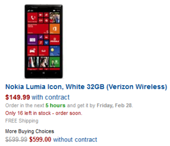 Lumia Icon Amazon 16 left