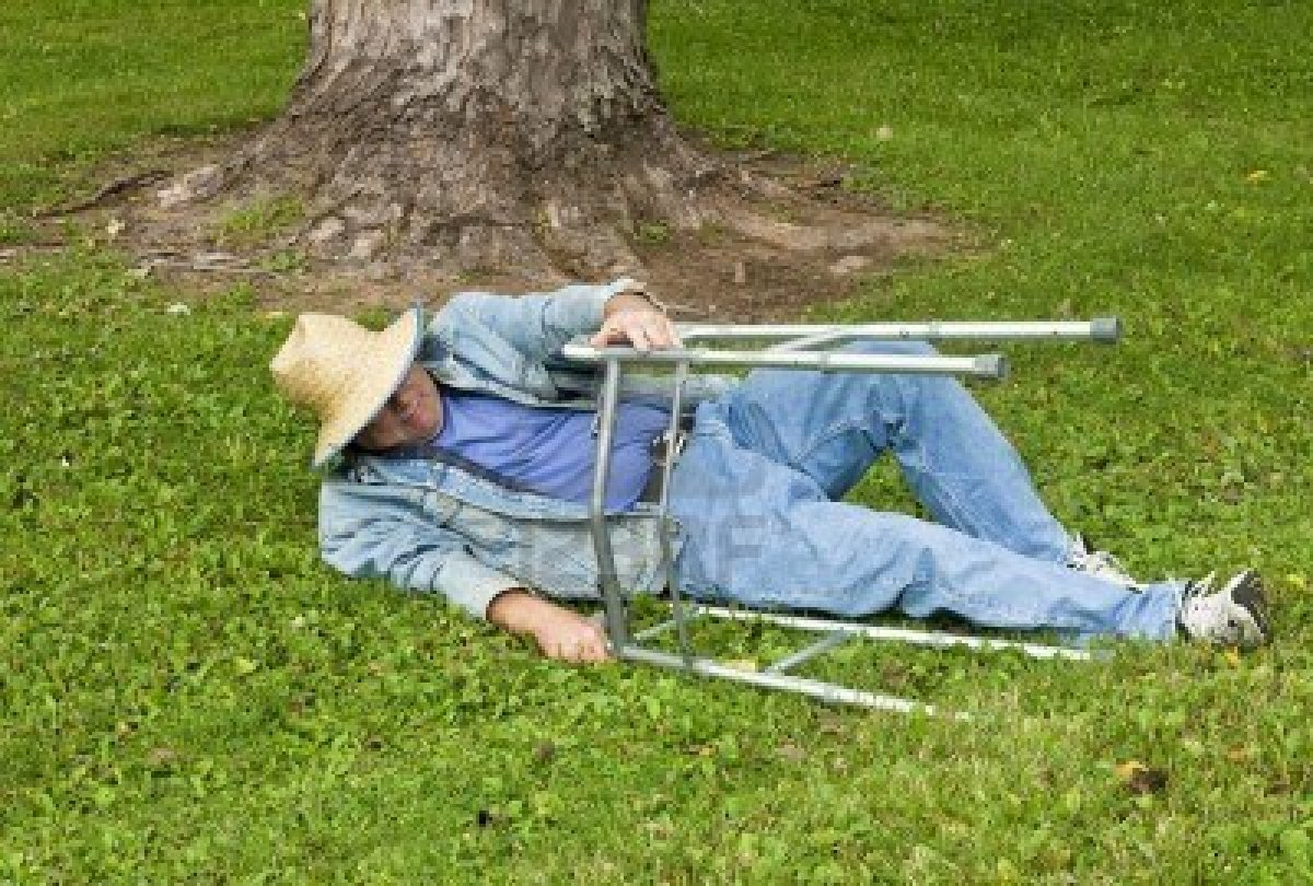 Old Man With A Walker Falls In The Park Slough Town