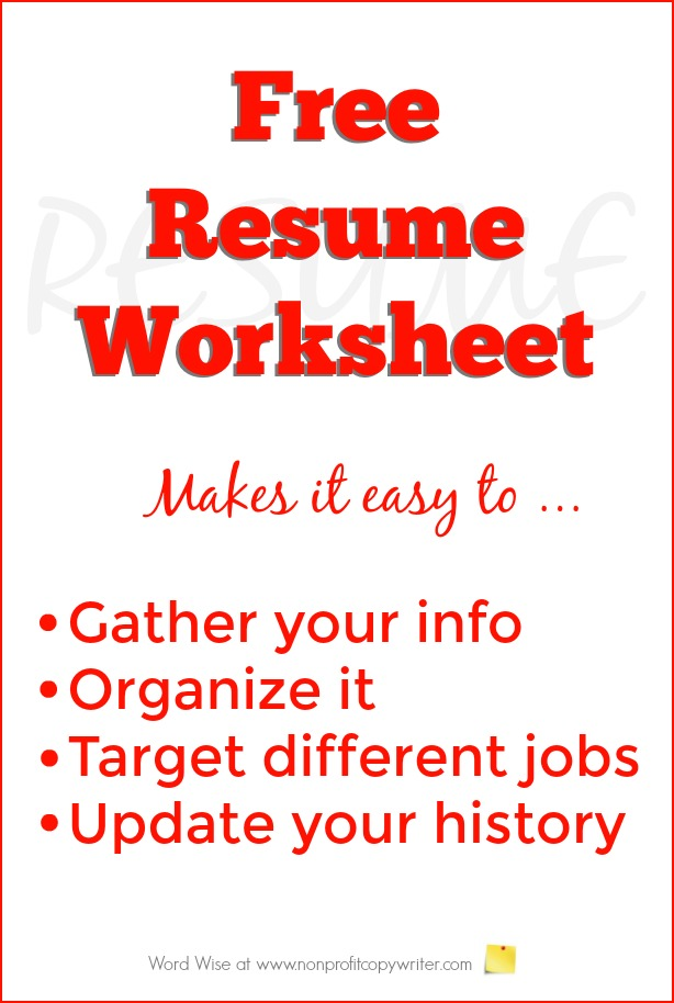 Free Resume Worksheet to Build Your Resume - resume worksheet
