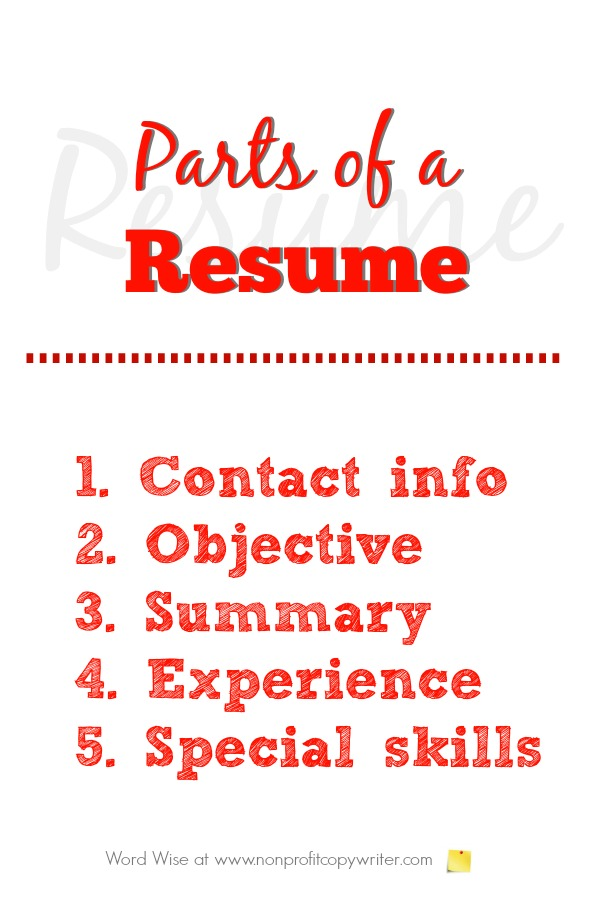 Parts of a Resume a Primer