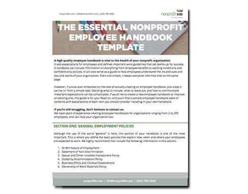 Template The Essential Nonprofit Employee Handbook Template - handbook template