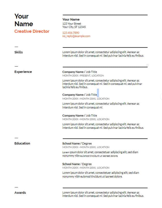 save resume google docs