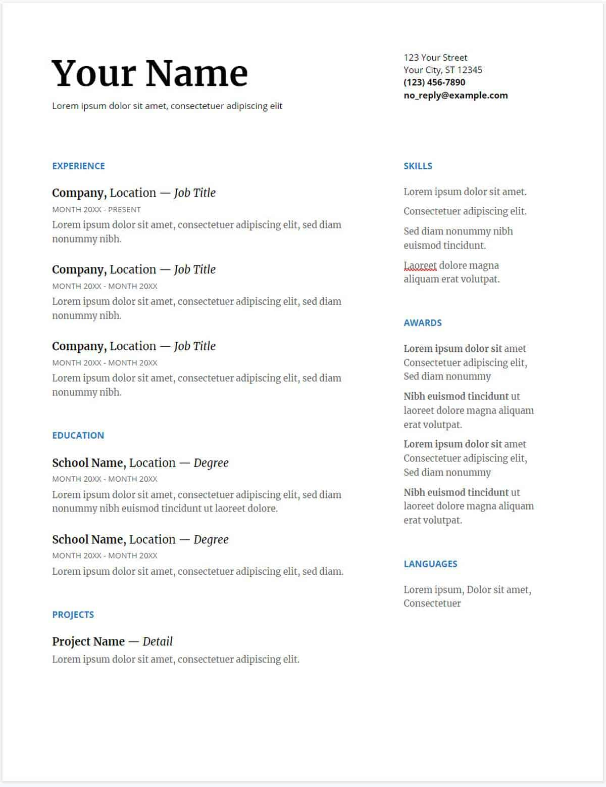 google cv template uk