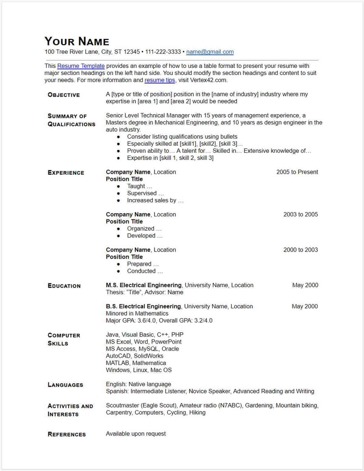 how to make resume on google docs