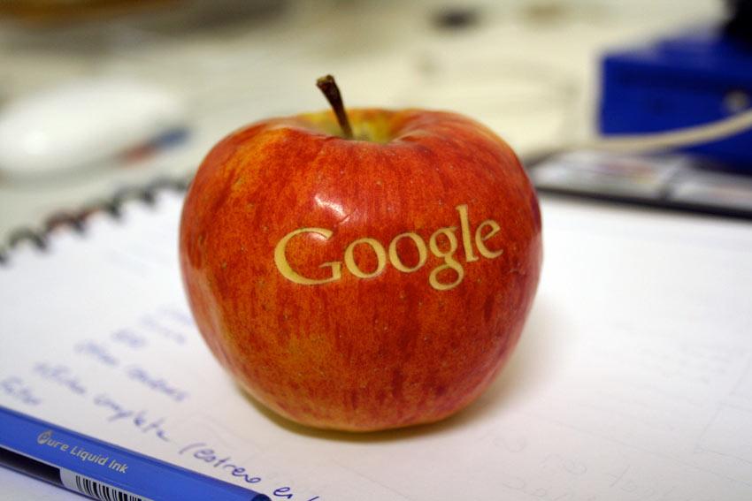 Google logo on an apple