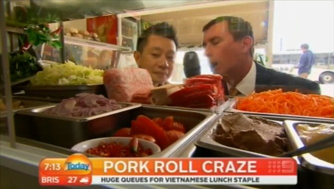 noodlies food blog and pork rolls on channel 9