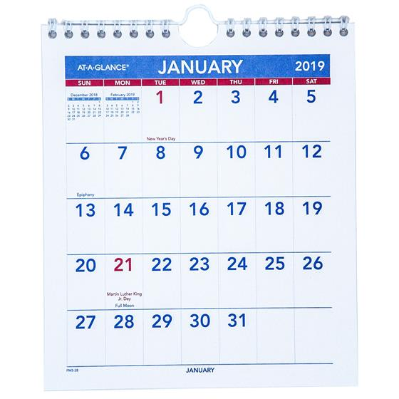 At-A-Glance PM5-28, 2019 Mini Monthly Wall Calendar, 6-1/2 x 7-1/2