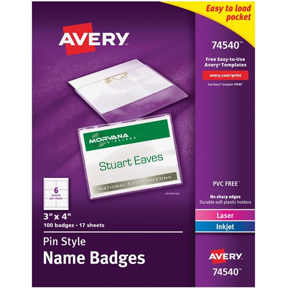 Avery 74540 Pin Style Names Badges 3 x 4\